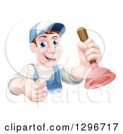 Clipart Of A Middle Aged Brunette White Male Plumber Wearing A Baseball Cap Holding A Thumb Up And A Plunger Royalty Free Vector Illustration