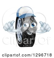 Clipart Of A Happy Tire Character Wearing A Baseball Cap And Holding Two Thumbs Up Royalty Free Vector Illustration