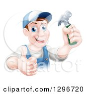 Clipart Of A Happy Middle Aged Brunette Caucasian Worker Man Wearing A Baseball Cap Holding A Hammer And Thumb Up Royalty Free Vector Illustration