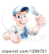 Clipart Of A Happy Brunette Middle Aged Caucasian Mechanic Man Wearing A Baseball Cap Holding A Wrench And Thumb Up Royalty Free Vector Illustration