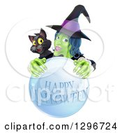 Clipart Of A Green Witch And Black Cat Behind A Happy Halloween Crystal Ball Royalty Free Vector Illustration by AtStockIllustration