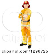 Clipart Of A Handsome Caucasian Male Fireman Standing With Folded Arms Royalty Free Vector Illustration by AtStockIllustration