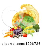 Clipart Of A Thanksgiving Fall Cornucopia Horn Of Plenty With Produce Royalty Free Vector Illustration by AtStockIllustration
