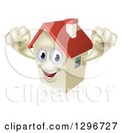 Clipart Of A Happy House Character Cheering Royalty Free Vector Illustration by AtStockIllustration