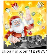 Happy Santa Claus Dj Mixing Christmas Music On A Turntable Over A Starburst And Gifts