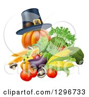 Clipart Of A Thanksgiving Pumpkin With A Pilgrim Hat And Produce Royalty Free Vector Illustration by AtStockIllustration