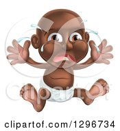 Clipart Of A Crying Black Baby Boy Teething Sitting In A Diaper Holding His Arms Up Royalty Free Vector Illustration by AtStockIllustration