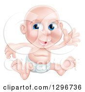 Clipart Of A Happy Bald Blue Eyed Caucasian Baby Boy Sitting In A Diaper And Waving Royalty Free Vector Illustration
