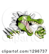Clipart Of A Snapping Alligator Or Crocodile Head Slashing Through A Wall Royalty Free Vector Illustration by AtStockIllustration