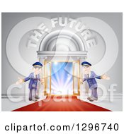Clipart Of A VIP Venue Entrance With Welcoming Friendly Doormen Red Carpet And The Future Text Royalty Free Vector Illustration by AtStockIllustration