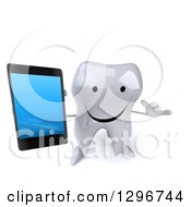 Clipart Of A 3d Happy Tooth Character Holding Up A Smart Phone And Gesturing Call Me Royalty Free Illustration