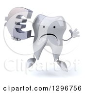 Clipart Of A 3d Unhappy Tooth Character Jumping And Holding A Euro Symbol Royalty Free Illustration