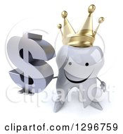 Clipart Of A 3d Happy Crowned Tooth Character Holding Up A Dollar Symbol Royalty Free Illustration