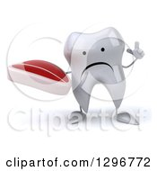 Clipart Of A 3d Unhappy Tooth Character Holding Up A Finger And A Beef Steak Royalty Free Illustration