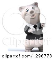 3d Full Length Happy Business Polar Bear Pointing Around A Sign