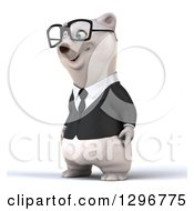 Clipart Of A 3d Bespectacled Happy Business Polar Bear Facing Left Royalty Free Illustration