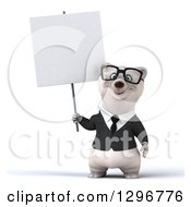 3d Bespectacled Happy Business Polar Bear Holding A Blank Sign