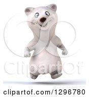Clipart Of A 3d Happy Polar Bear Running Royalty Free Illustration