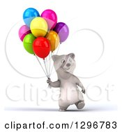 Clipart Of A 3d Happy Polar Bear Walking With Party Balloons Royalty Free Illustration