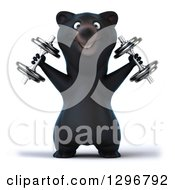 Clipart Of A 3d Happy Black Bear Doing Shoulder Presses With Dumbbells Royalty Free Illustration