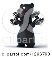 Clipart Of A 3d Happy Black Bear Facing Left And Doing Shoulder Presses With Dumbbells Royalty Free Illustration