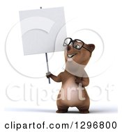 Clipart Of A 3d Happy Bespectacled Brown Bear Holding And Pointing To A Blank Sign Royalty Free Illustration
