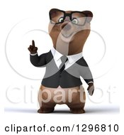 Clipart Of A 3d Happy Bespectacled Brown Business Bear Holding Up A Finger Royalty Free Illustration