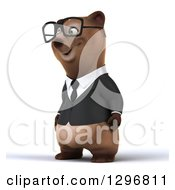 Clipart Of A 3d Happy Bespectacled Brown Business Bear Facing Left Royalty Free Illustration
