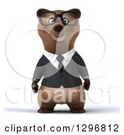 Clipart Of A 3d Happy Bespectacled Brown Business Bear Royalty Free Illustration
