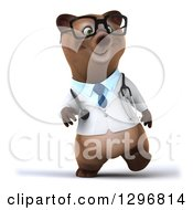Clipart Of A 3d Happy Bespectacled Brown Bear Doctor Or Veterinarian Walking Royalty Free Illustration