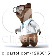 Clipart Of A 3d Happy Bespectacled Brown Bear Doctor Or Veterinarian Walking To The Left Royalty Free Illustration