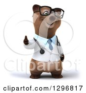 Clipart Of A 3d Happy Bespectacled Brown Bear Doctor Or Veterinarian Giving A Thumb Up Royalty Free Illustration