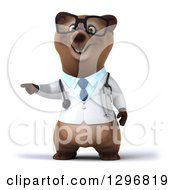 Clipart Of A 3d Happy Bespectacled Brown Bear Doctor Or Veterinarian Pointing To The Left Royalty Free Illustration