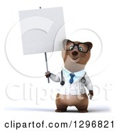 Clipart Of A 3d Happy Bespectacled Brown Bear Doctor Or Veterinarian Holding Up A Blank Sign Royalty Free Illustration