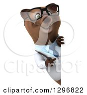 Clipart Of A 3d Happy Bespectacled Brown Bear Doctor Or Veterinarian Pointing Around A Sign Royalty Free Illustration