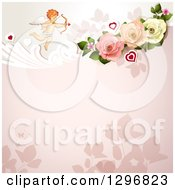 Clipart Of A Floral Rose Valentine Background With Cupid And Hearts Royalty Free Vector Illustration