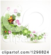 Clipart Of A St Patricks Day Background Of A Monarch Butterfly Ladybug Blossoms And Shamrock Clovers Royalty Free Vector Illustration by merlinul