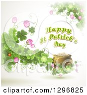 Happy St Patricks Day Greeting With A Pot Of Gold Monarch Butterfly Ladybug Blossoms And Shamrock Clovers