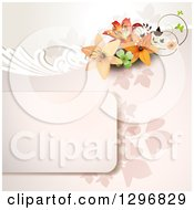 Clipart Of A Lily Flower And Shamrock Background With Copyspace Royalty Free Vector Illustration