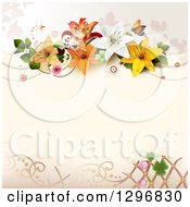 Clipart Of A Lily Flower And Shamrock Background With Butterflies Circles And Copyspace Royalty Free Vector Illustration
