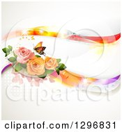 Floral Rose Wedding Background With A Buttefly And Magical Waves