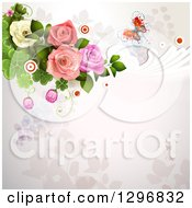 Floral Rose Wedding Background With A Buttefly Swirls Circles And Shamrocks