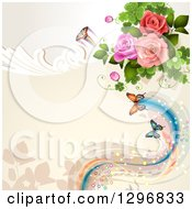 Floral Rose Wedding Background With Butterflies Swirls And Magical Waves