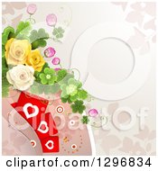 Clipart Of A Floral Rose Background With Valentines Day Hearts Shamrocks And Circles Royalty Free Vector Illustration