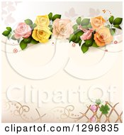 Clipart Of A Floral Rose Wedding Background With Circles And Lattice Royalty Free Vector Illustration