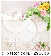 Clipart Of A Floral Rose Wedding Background With Swirls Shamrocks And Lattice Royalty Free Vector Illustration