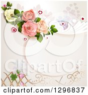 Clipart Of A Floral Rose Wedding Background With Shamrocks Lattice And Hearts Royalty Free Vector Illustration