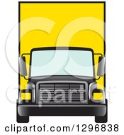 Clipart Of A Yellow Moving Van Or Big Right Truck Royalty Free Vector Illustration