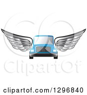 Clipart Of A Silver Winged Blue Moving Van Or Big Right Truck Royalty Free Vector Illustration by Lal Perera
