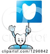 Clipart Of A Cartoon Tooth Character Holding Up A Blue Sign Royalty Free Vector Illustration